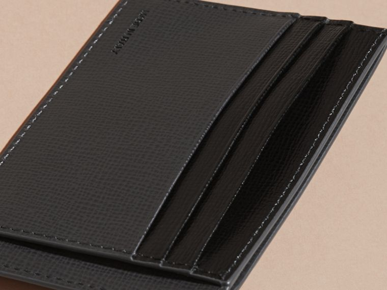 Charcoal/black Colour Block London Leather Card Case Charcoal/black - cell image 4