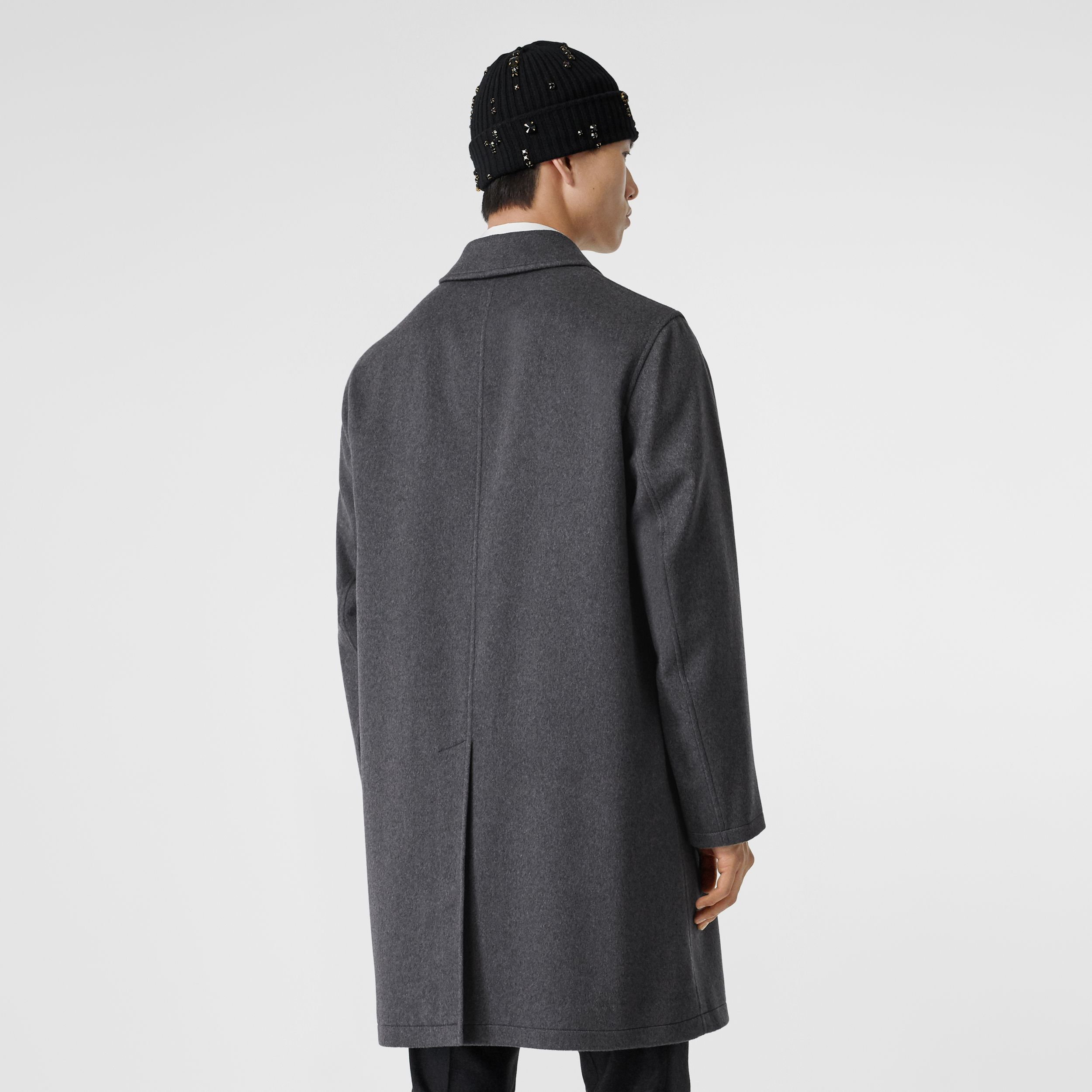 Cashmere Car Coat in Pewter Melange - Men | Burberry Canada - 3