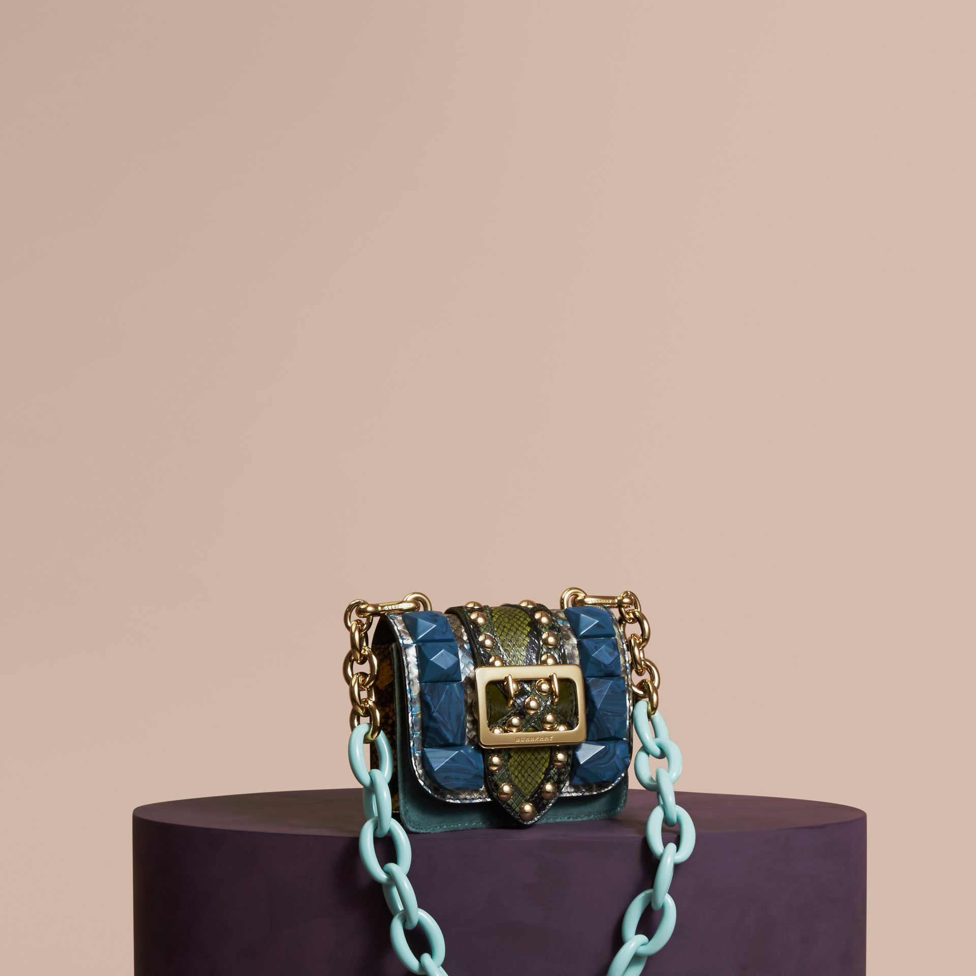 Pale opal The Mini Square Buckle Bag in Velvet and Snakeskin - gallery image 1