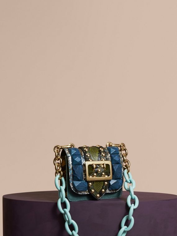 The Mini Square Buckle Bag in Velvet and Snakeskin