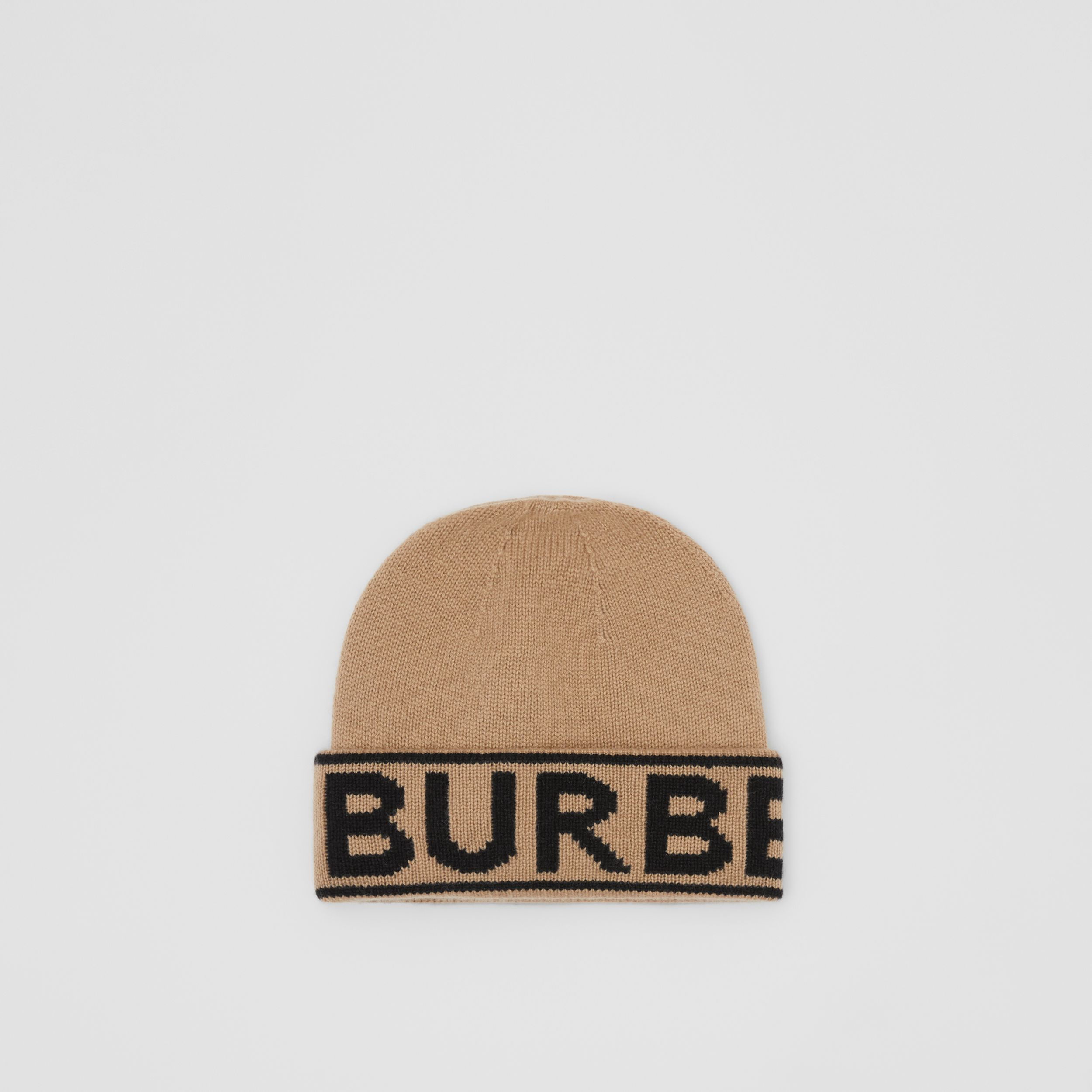Logo Intarsia Cashmere Beanie in Archive Beige | Burberry - 1