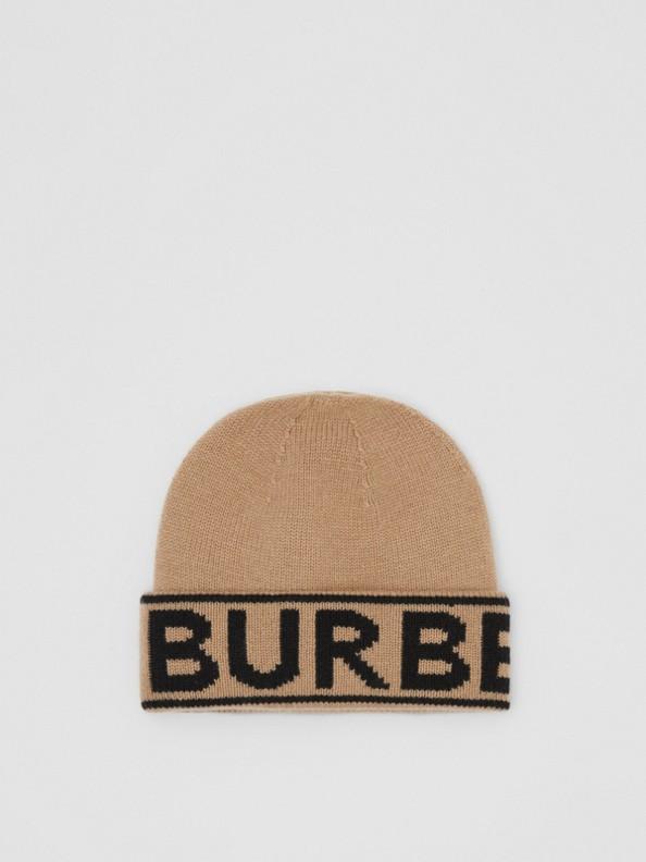 Cappellino in cashmere con logo a intarsio (Beige Archivio)