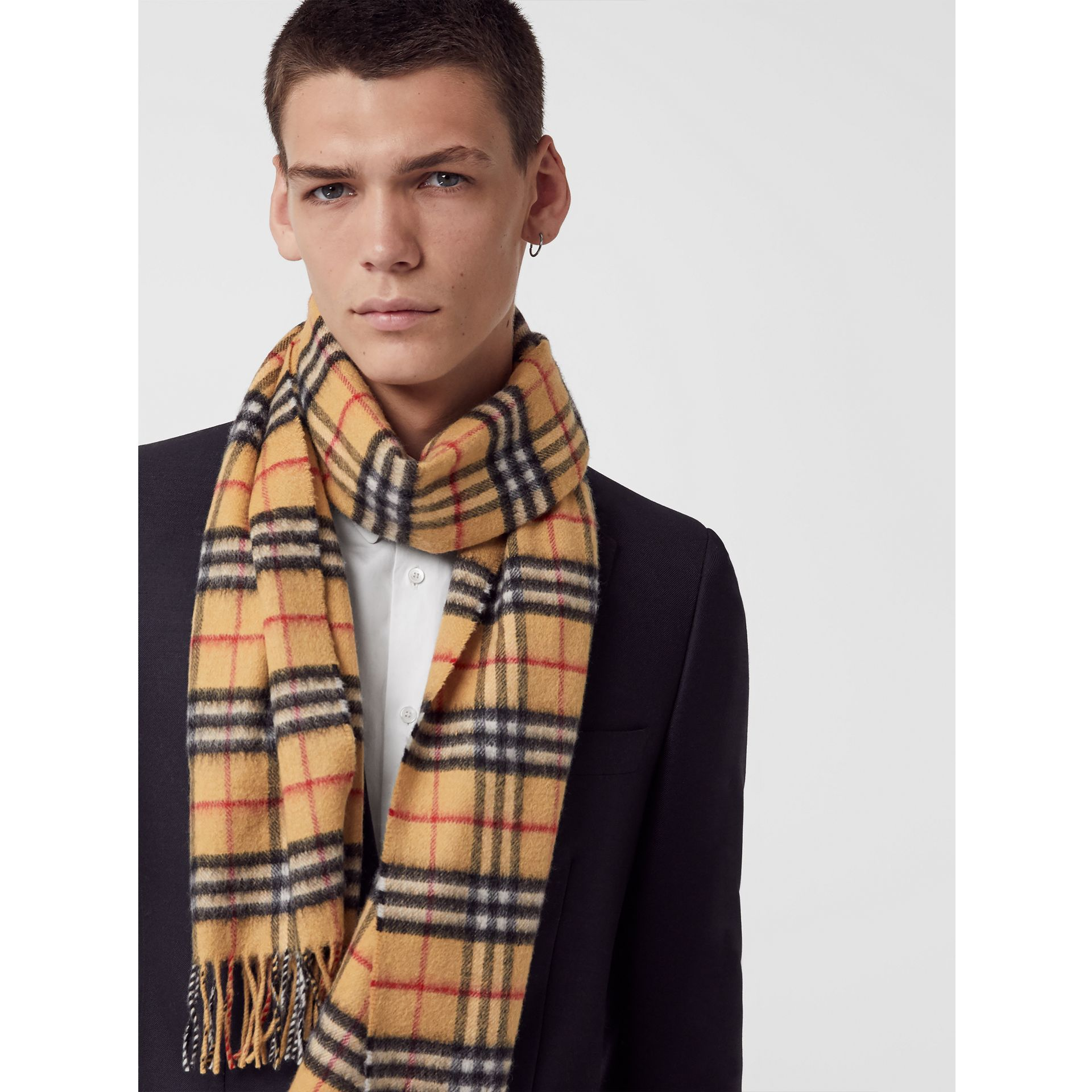 The Classic Vintage Check Cashmere Scarf in Antique Yellow | Burberry United Kingdom - gallery image 6