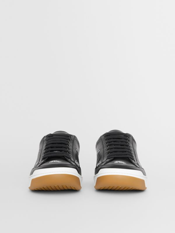Logo Print Leather Sneakers in Black - Men | Burberry Canada - cell image 2