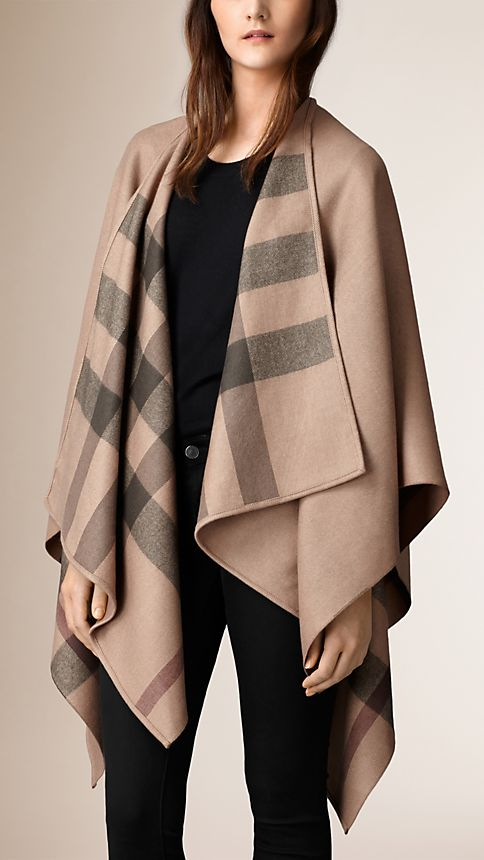 Smoked trench check Check-Lined Wool Poncho - Image 1