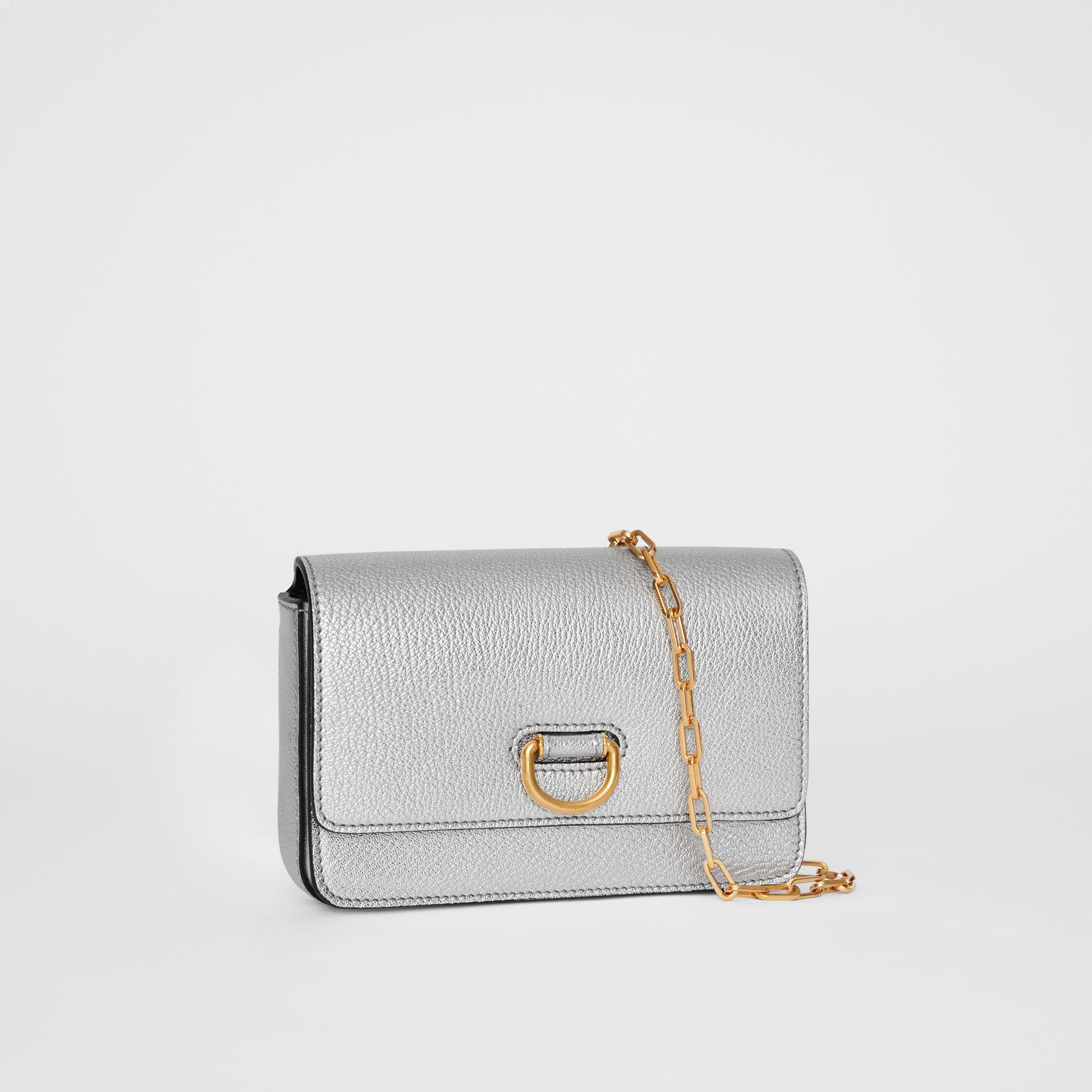 The Mini Leather D-ring Bag in Silver - Women | Burberry Canada - gallery image 6