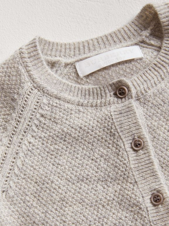 Textured Knit Cashmere Cardigan in Light Grey Melange | Burberry - cell image 1