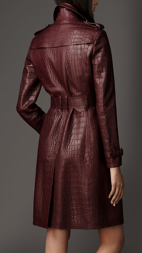 Maroon Alligator Wrap Trench Coat - Image 2