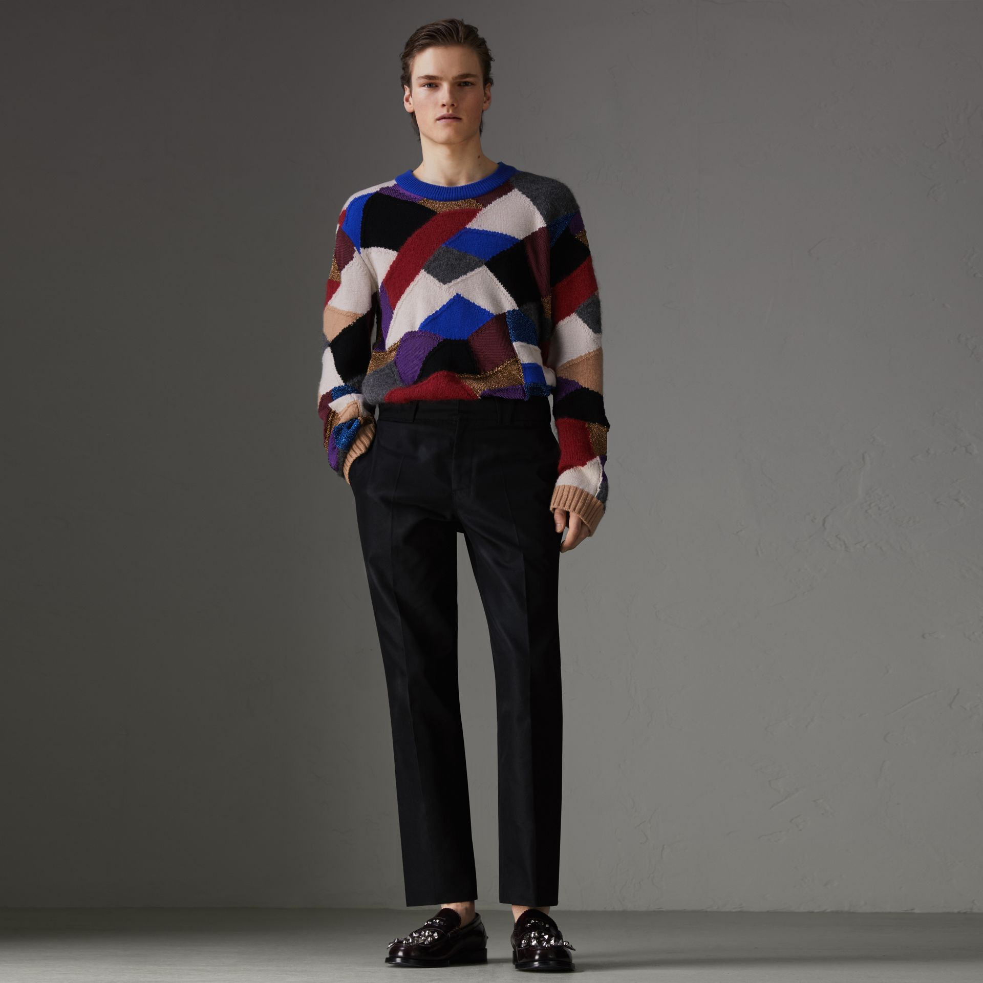 Patchwork Cashmere Wool Blend Sweater in Cobalt Blue - Men | Burberry United Kingdom - gallery image 0