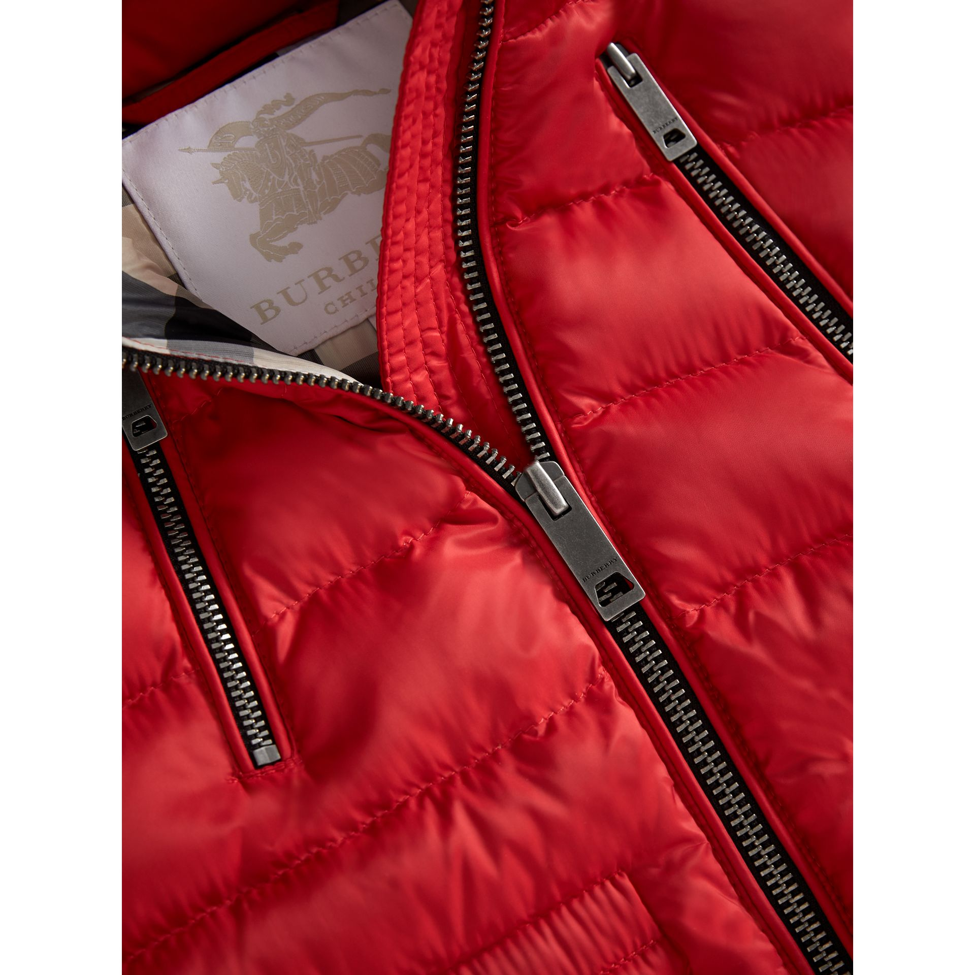 Detachable Hood Down-filled Gilet in Bright Cherry Red - Girl | Burberry - gallery image 1