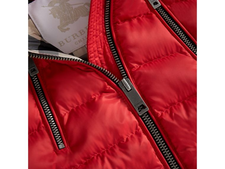 Detachable Hood Down-filled Gilet in Bright Cherry Red | Burberry - cell image 1