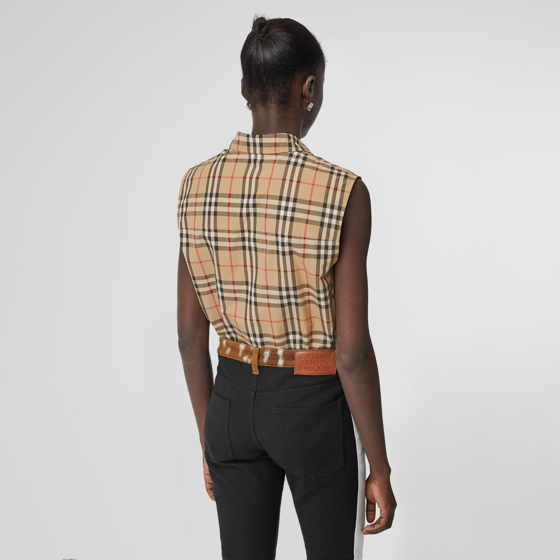 Sleeveless Vintage Check Cotton Poplin Oversized Shirt in Archive Beige - Women | Burberry United Kingdom - gallery image 2