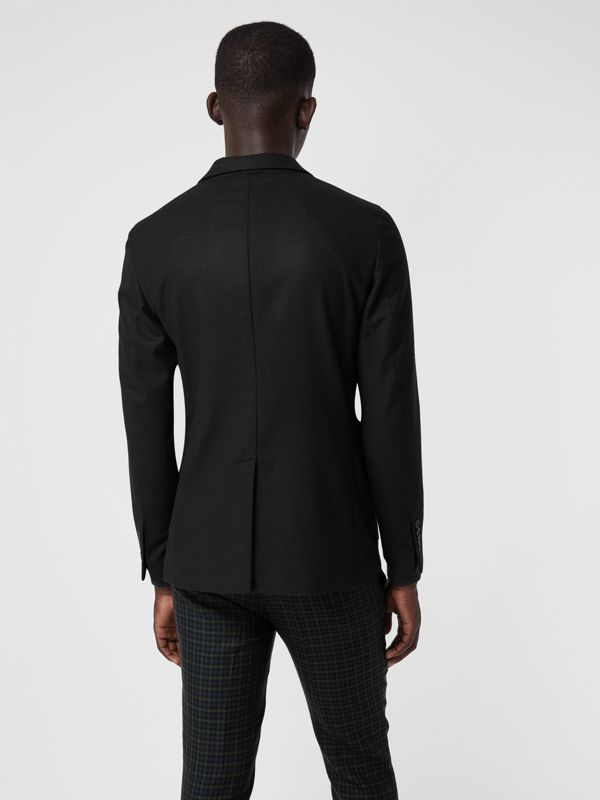 Slim Fit Embroidered Crest Wool Club Blazer in Black - Men | Burberry United States - cell image 2