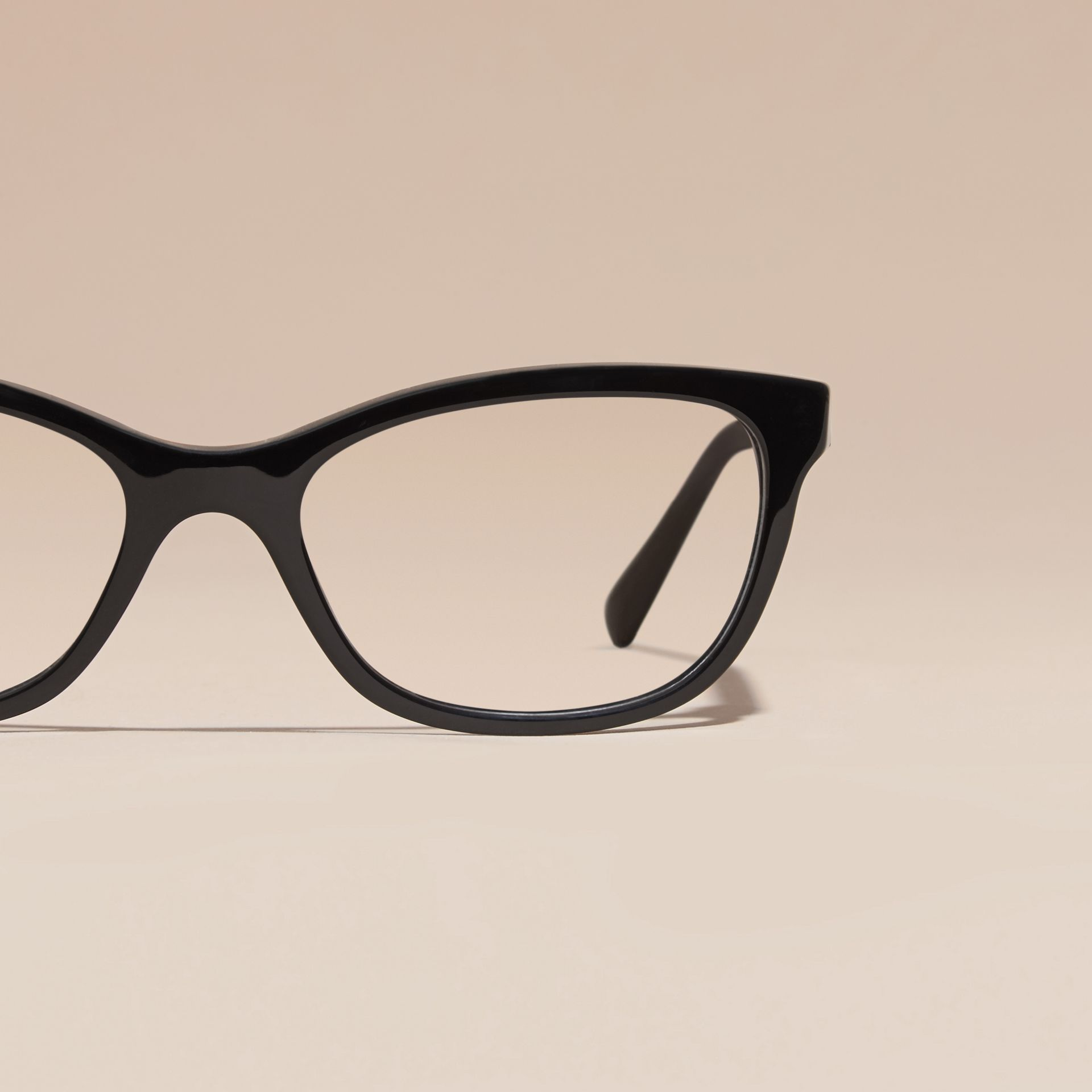 Black Check Detail Oval Optical Frames Black - gallery image 3