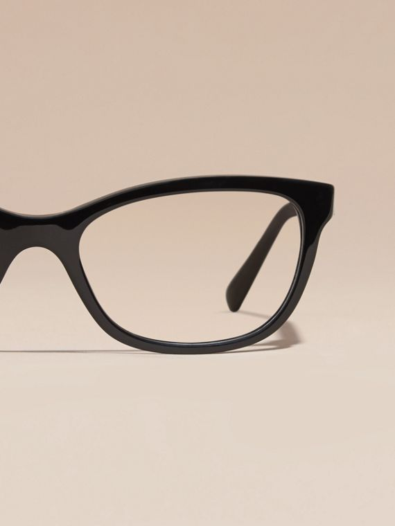 Black Check Detail Oval Optical Frames Black - cell image 2