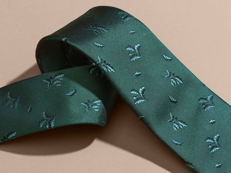Modern Cut Leaf Jacquard Silk Tie in Teal - cell image 1