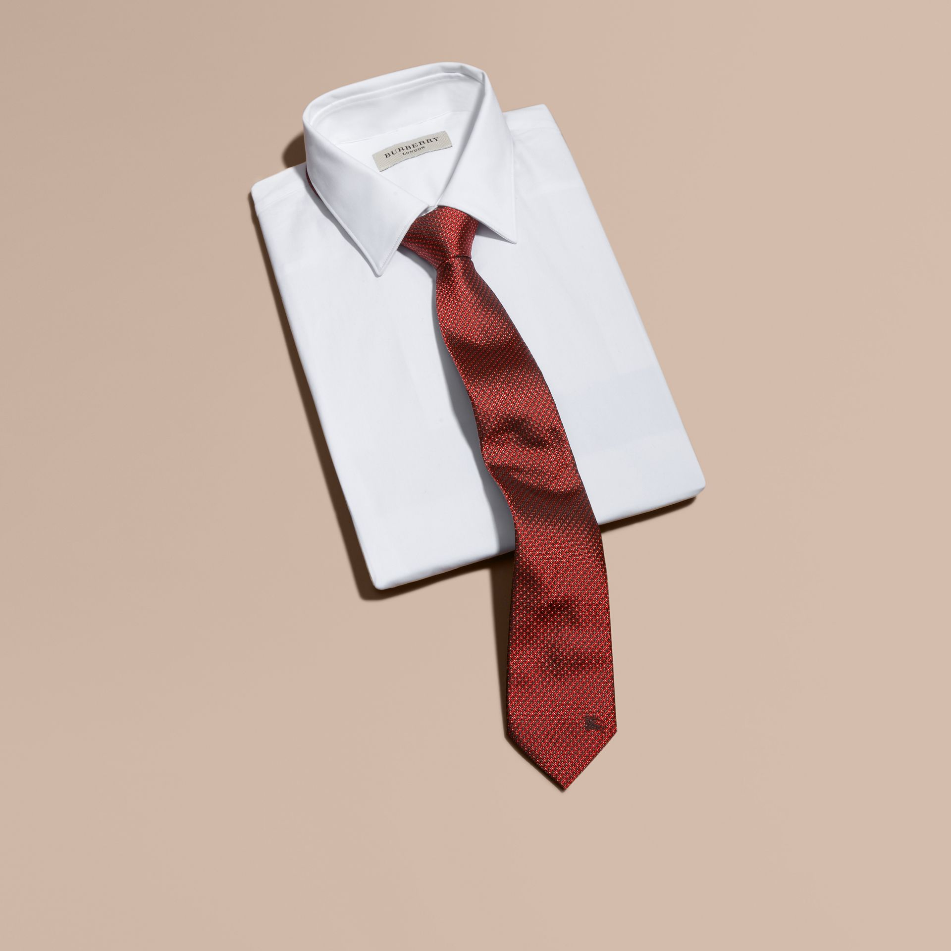 Modern Cut Patterned Silk Tie in Parade Red - Men | Burberry - gallery image 4