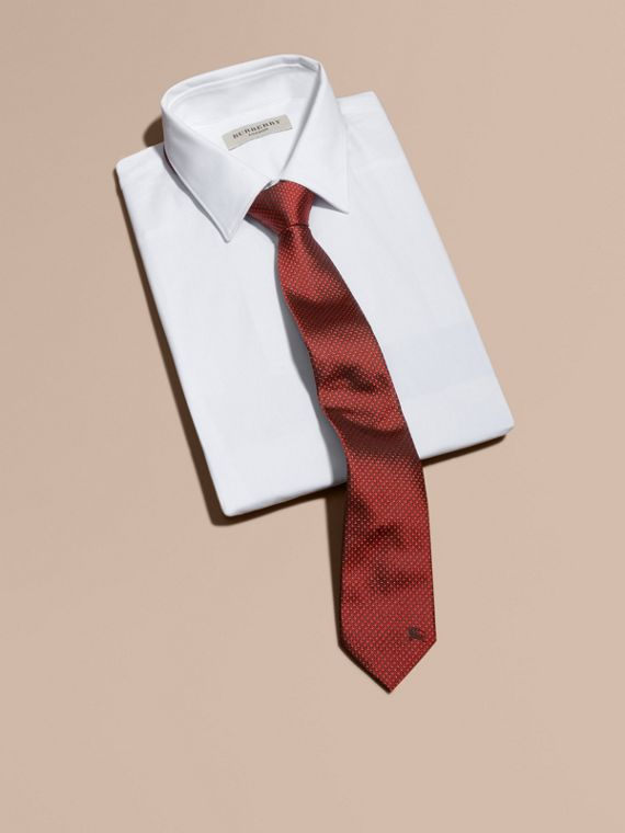 Modern Cut Patterned Silk Tie in Parade Red - Men | Burberry - cell image 3