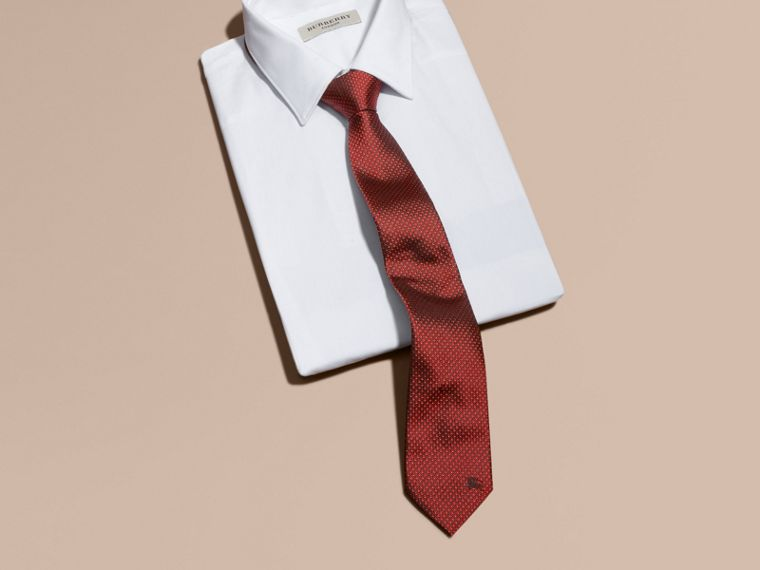 Parade red Modern Cut Patterned Silk Tie Parade Red - cell image 2