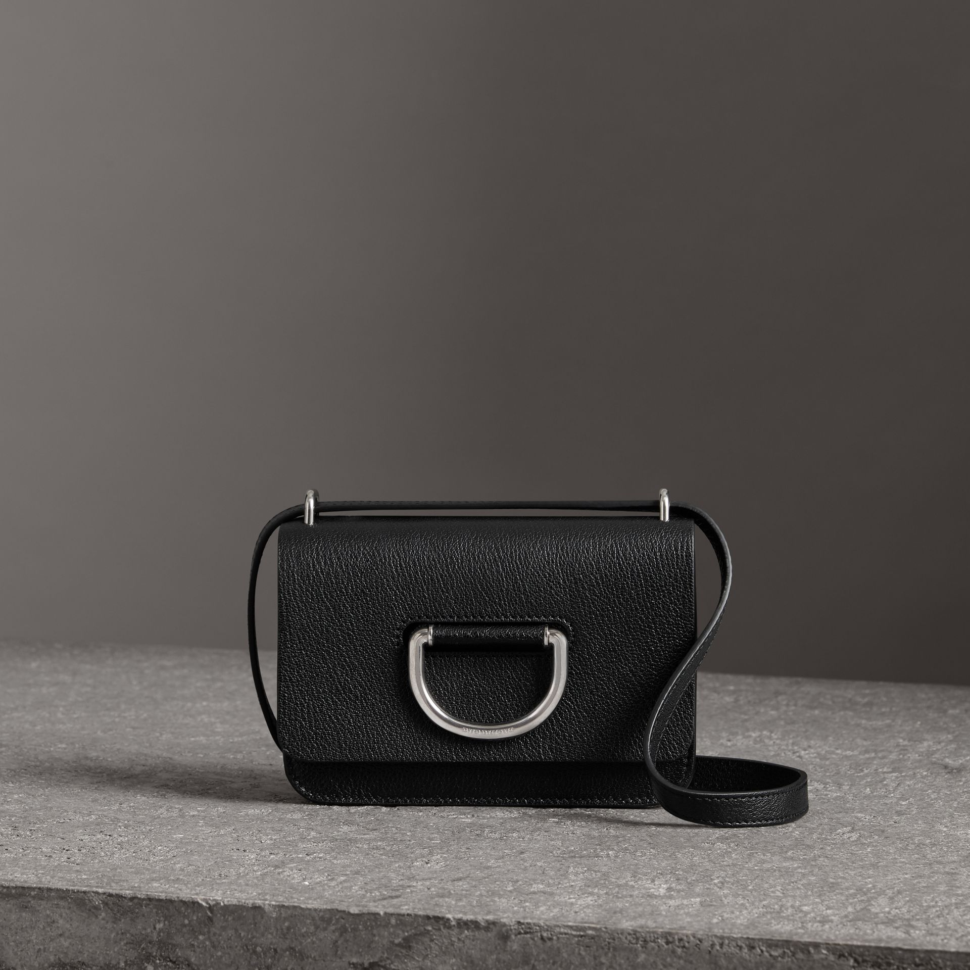 The Mini Leather D-Ring Bag in Black - Women | Burberry - gallery image 0