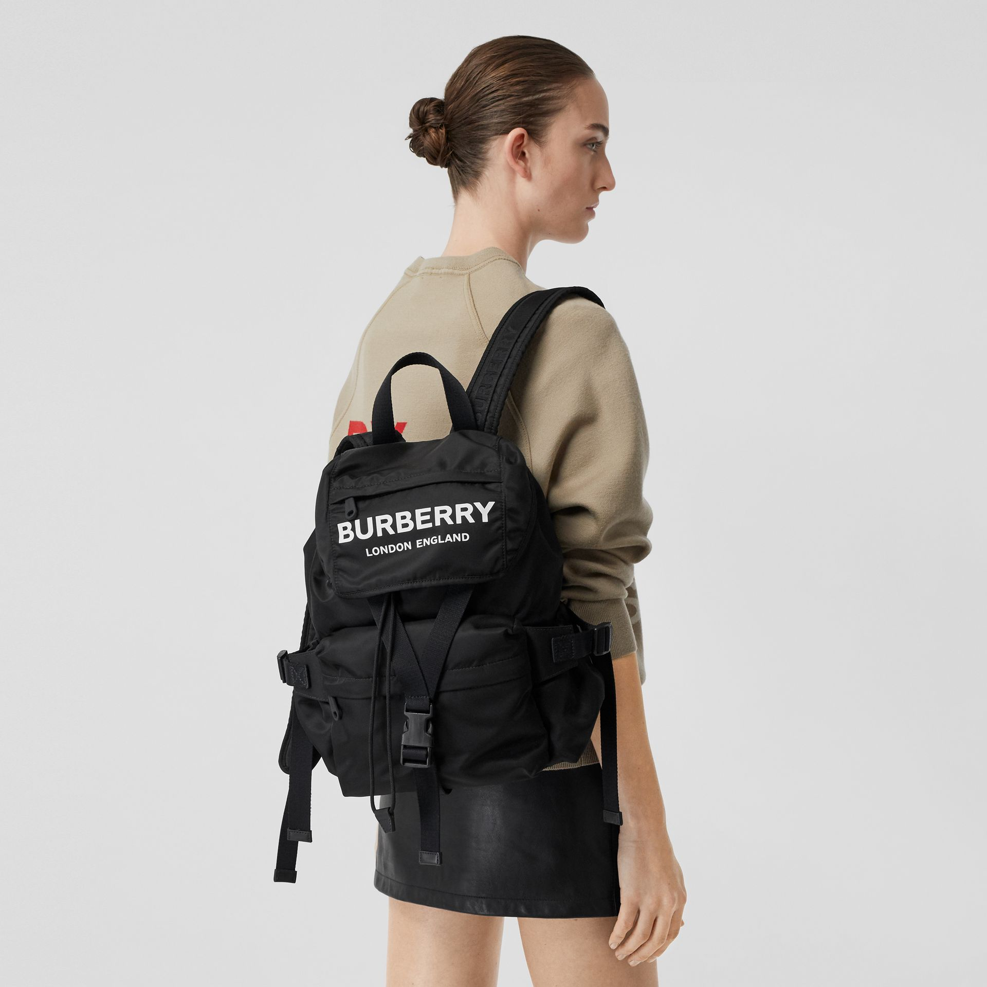 Logo Print Nylon Backpack in Black - Women | Burberry - gallery image 2
