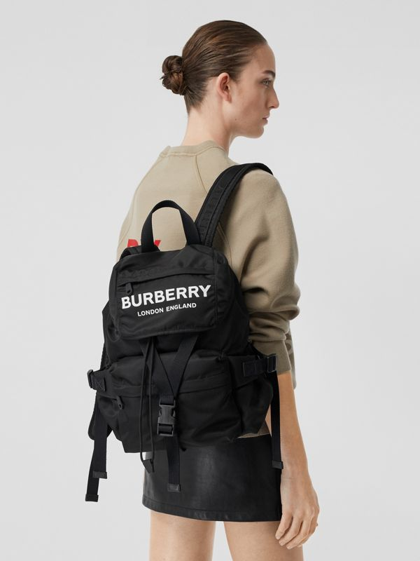 Logo Print Nylon Backpack in Black - Women | Burberry United States - cell image 2
