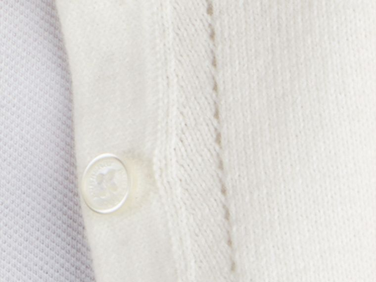 Check Cuff Cotton Cardigan in White - cell image 1