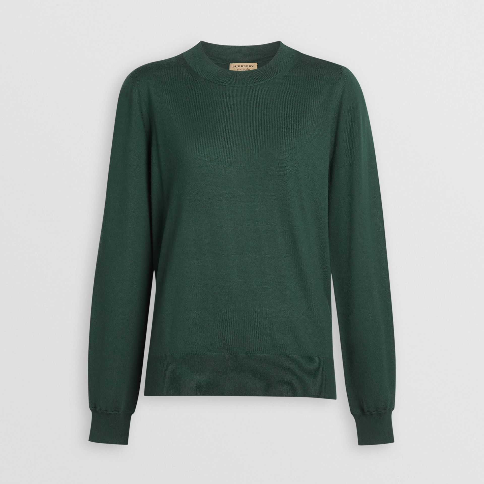 Merino Wool Crew Neck Sweater in Dark Forest Green - Women | Burberry Singapore - gallery image 3