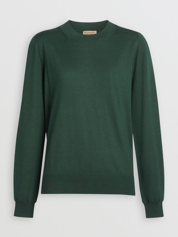 Merino Wool Crew Neck Sweater in Dark Forest Green - Women | Burberry Australia - cell image 3