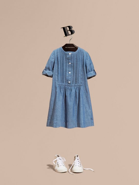 Pintuck Detail Cotton Chambray Dress