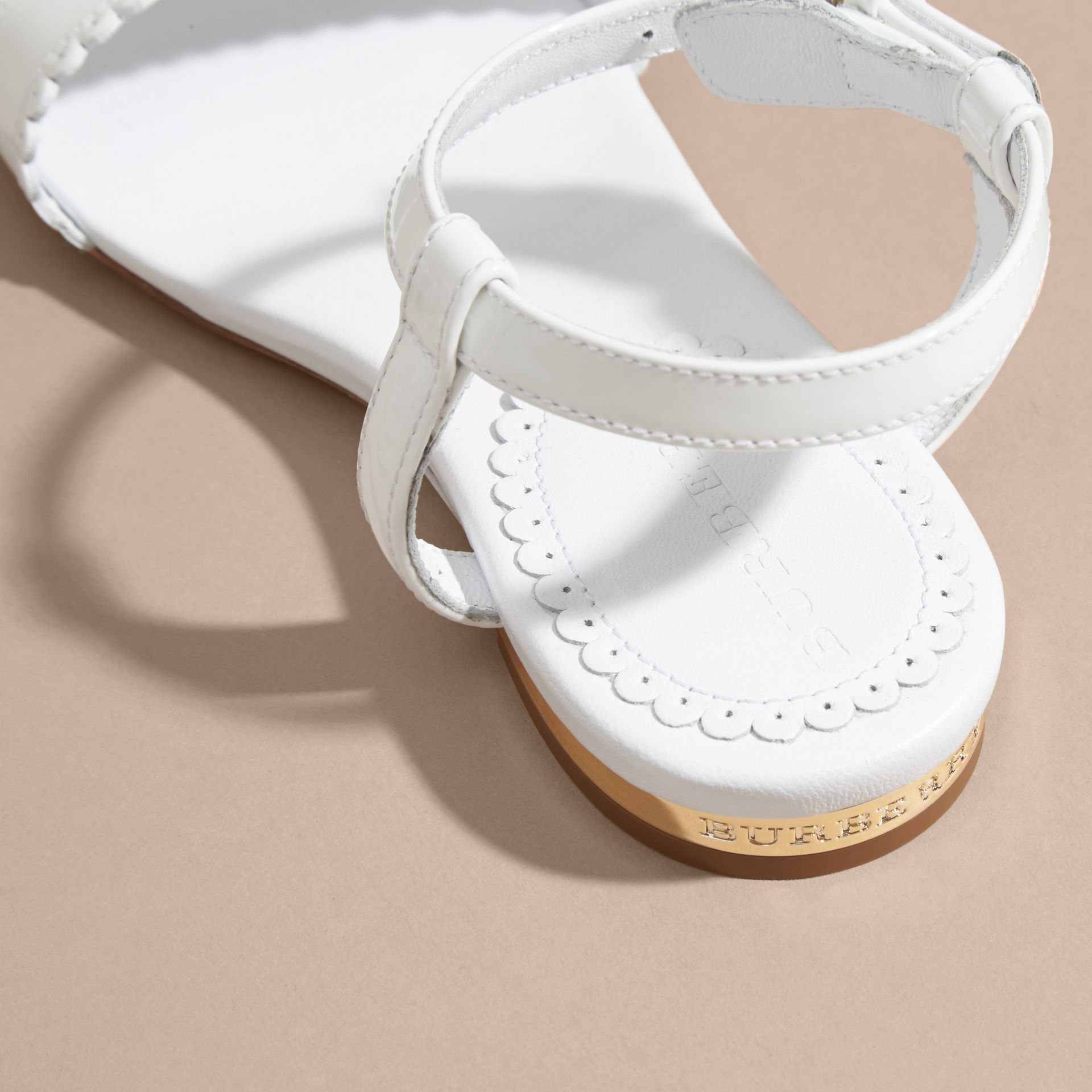 Scallop Detail Leather Sandals in Optic White - gallery image 4