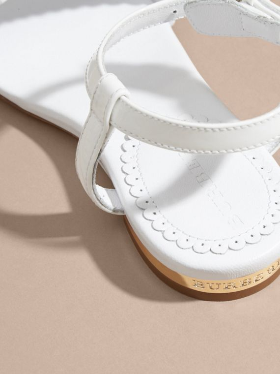 Scallop Detail Leather Sandals in Optic White - cell image 3