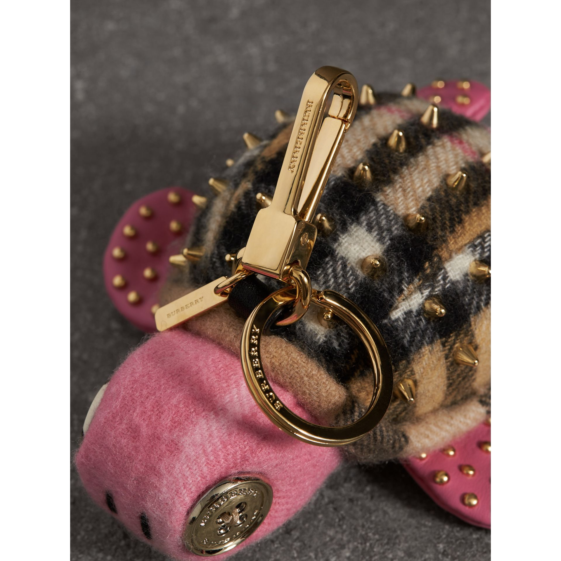 Beatrice The Turtle Cashmere Charm in Pink/antique Yellow | Burberry - gallery image 1
