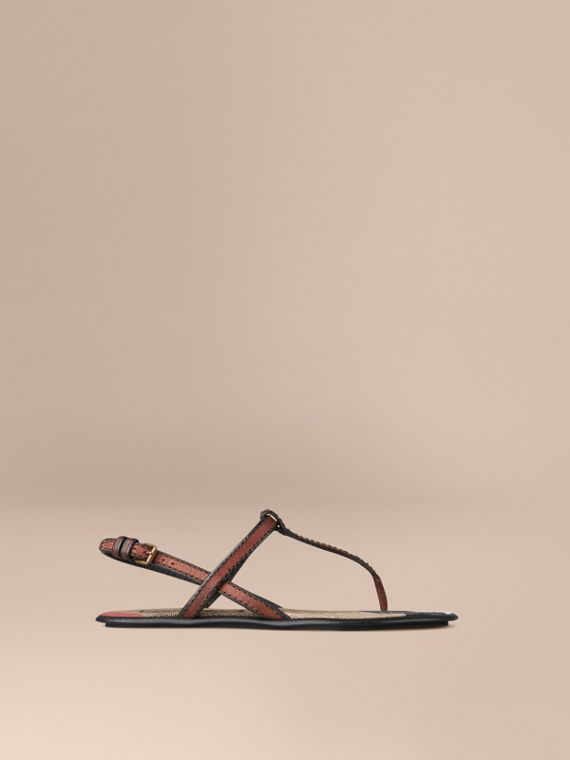 Canvas Check and Leather Sandals Dark Tan