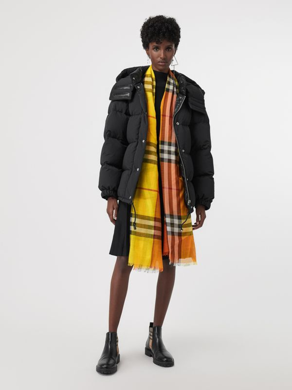 Colour Block Check Wool Silk Scarf in Amber Yellow | Burberry Singapore - cell image 2