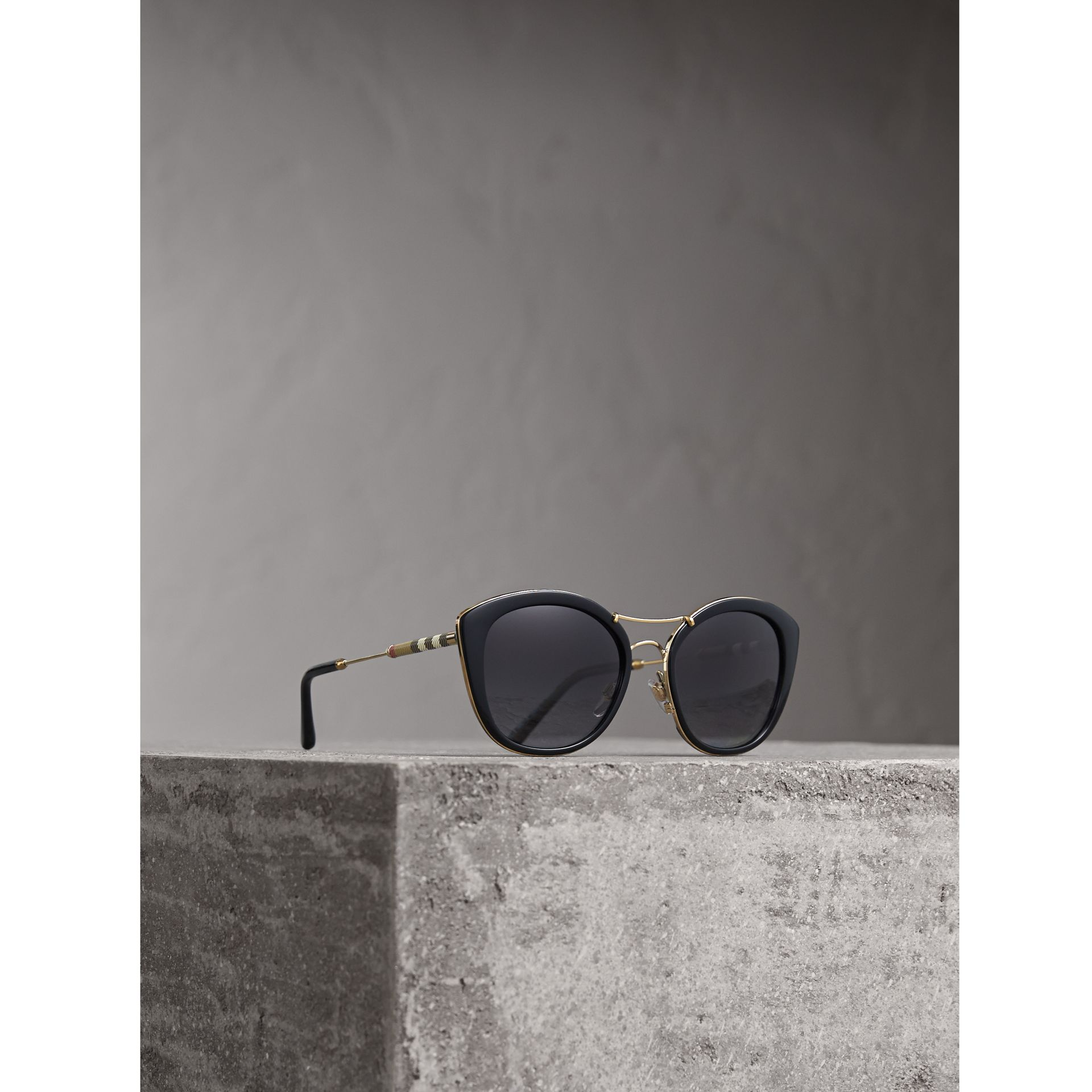 Check Detail Round Frame Sunglasses in Black - Women | Burberry - gallery image 0
