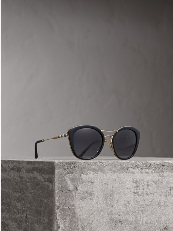 Check Detail Round Frame Sunglasses - Women | Burberry Singapore
