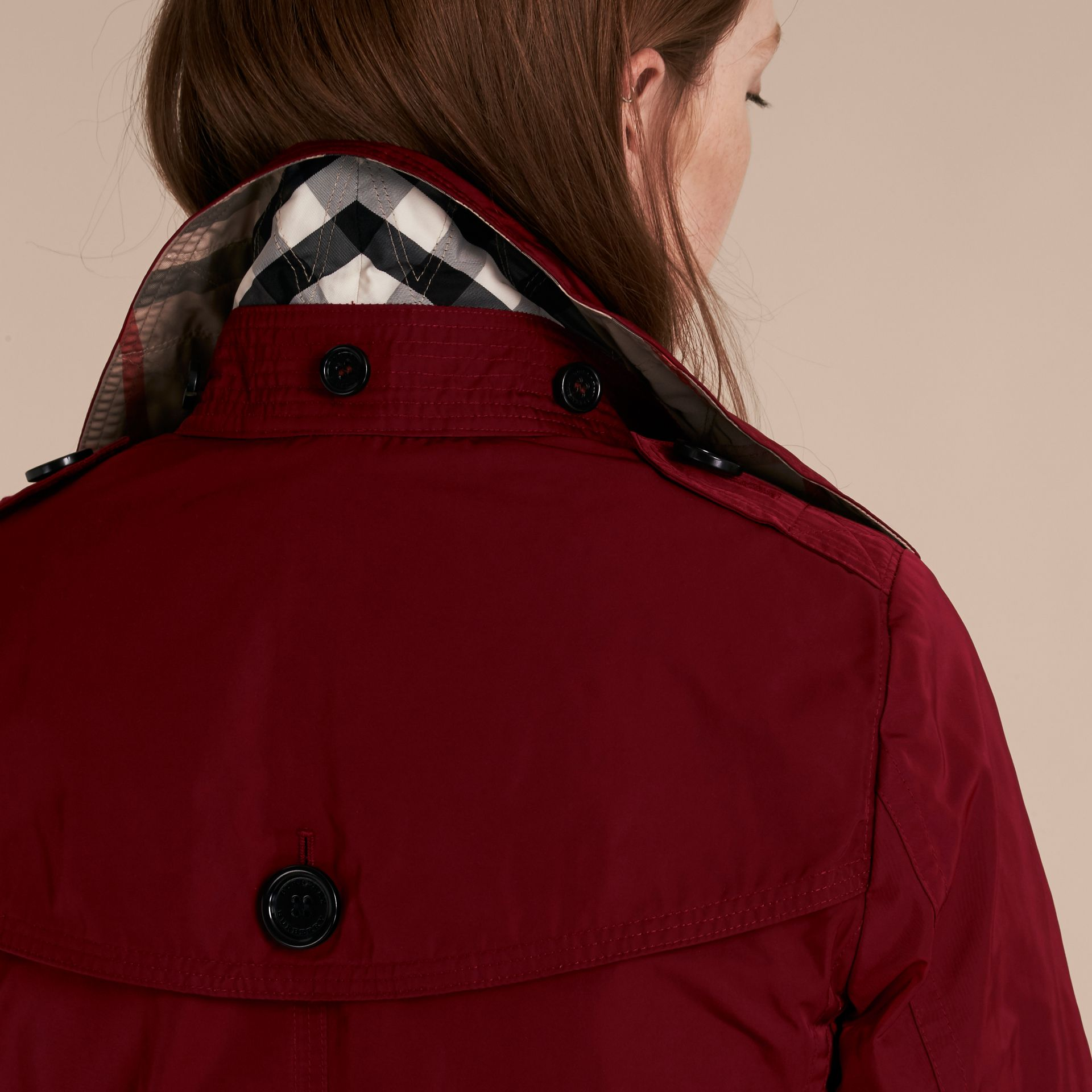 Garnet Fur-trimmed Hood Trench Coat with Detachable Gilet Garnet - gallery image 7