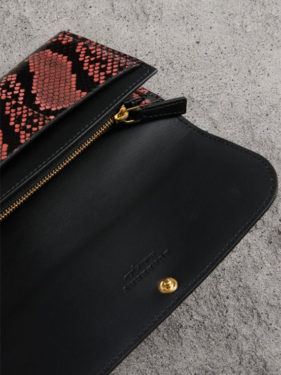 Python and Leather Continental Wallet in Peony - Women | Burberry United States - cell image 3