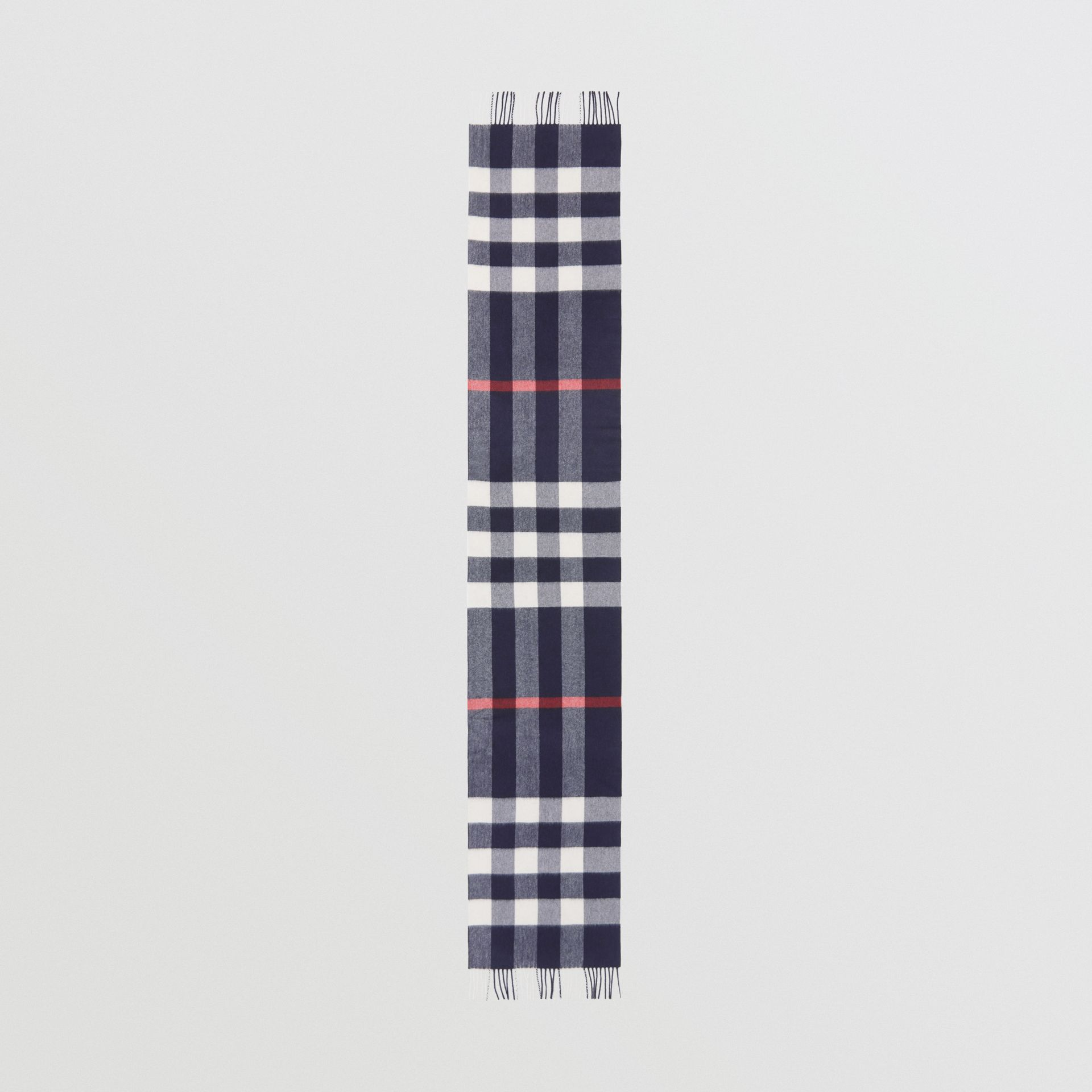 Check Cashmere Scarf in Navy | Burberry United Kingdom - gallery image 3