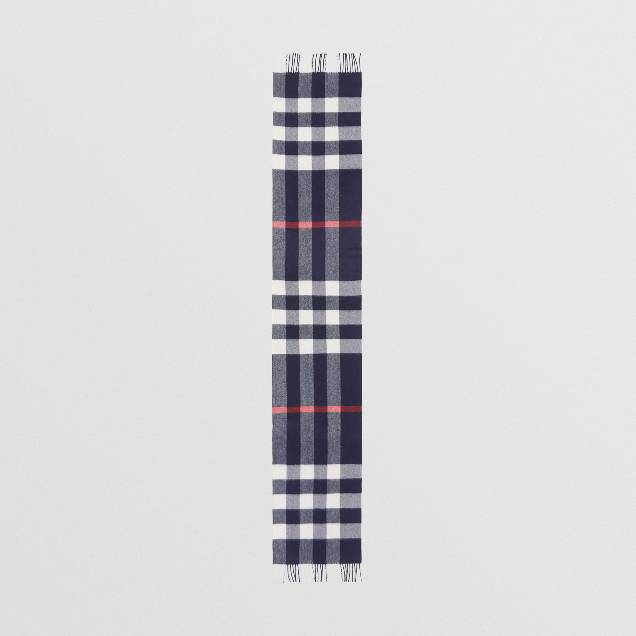 Check Cashmere Scarf in Navy | Burberry - 4