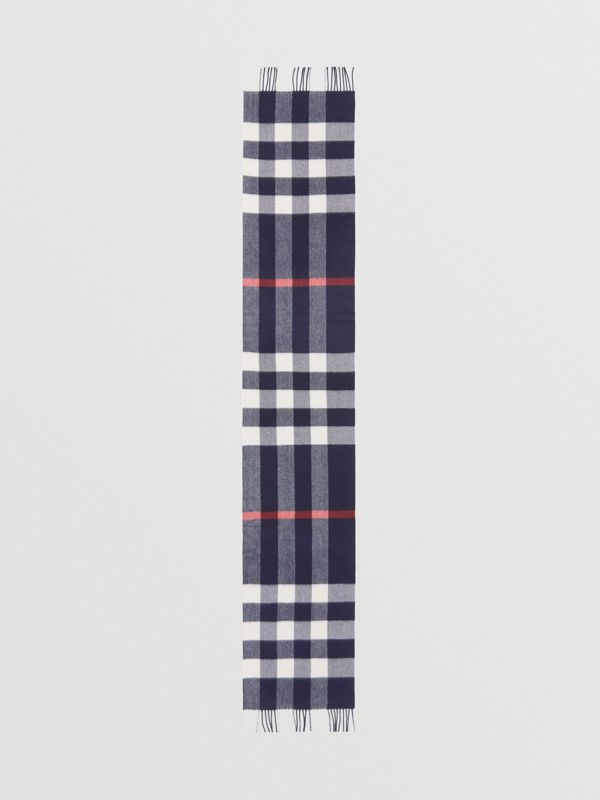 Check Cashmere Scarf in Navy | Burberry - cell image 3