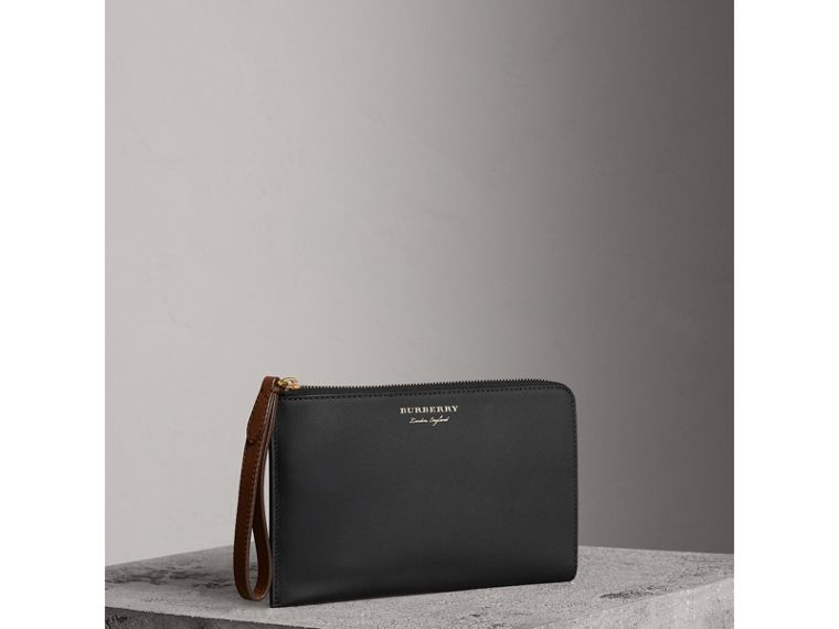 Two-tone Trench Leather Travel Wallet in Black - Men | Burberry - cell image 4