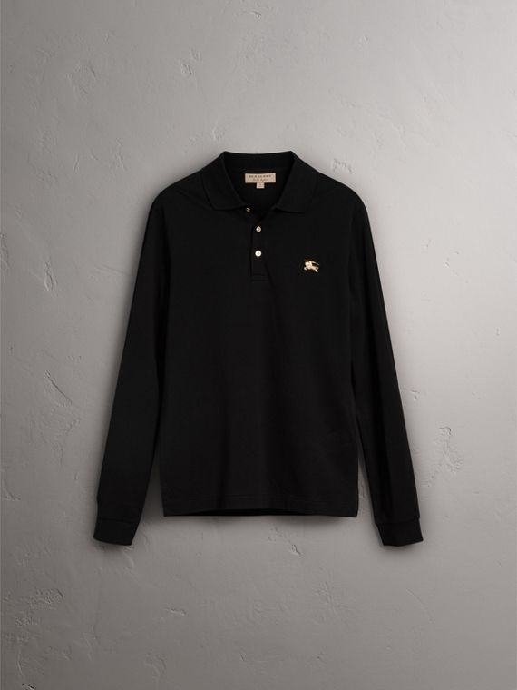 Long-sleeve Cotton Piqué Polo Shirt in Black - Men | Burberry United Kingdom - cell image 3