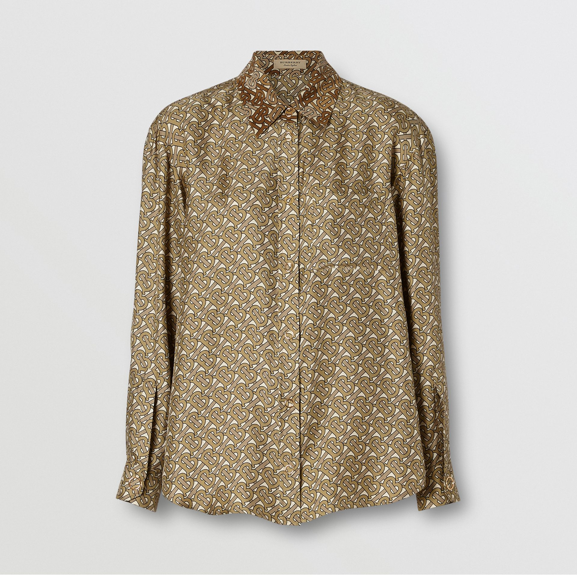 Contrast Collar Monogram Print Silk Shirt in Military Olive - Women | Burberry United Kingdom - gallery image 3
