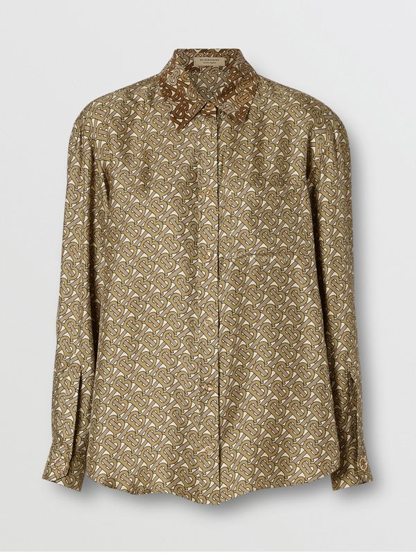 Contrast Collar Monogram Print Silk Shirt in Military Olive - Women | Burberry - cell image 3