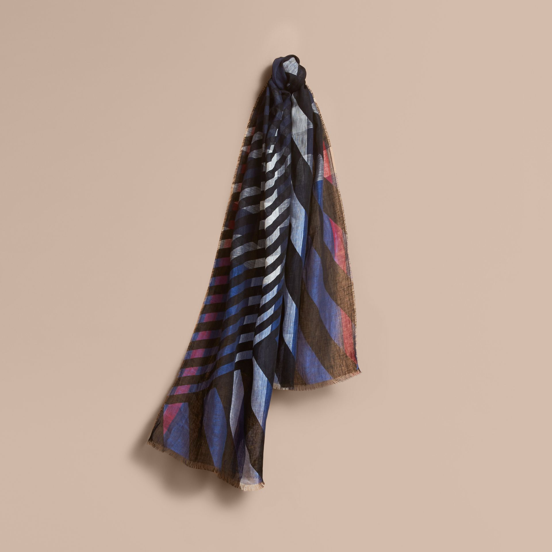 Lightweight Stripe Print Check Linen Scarf in Black/navy - Men | Burberry Hong Kong - gallery image 1