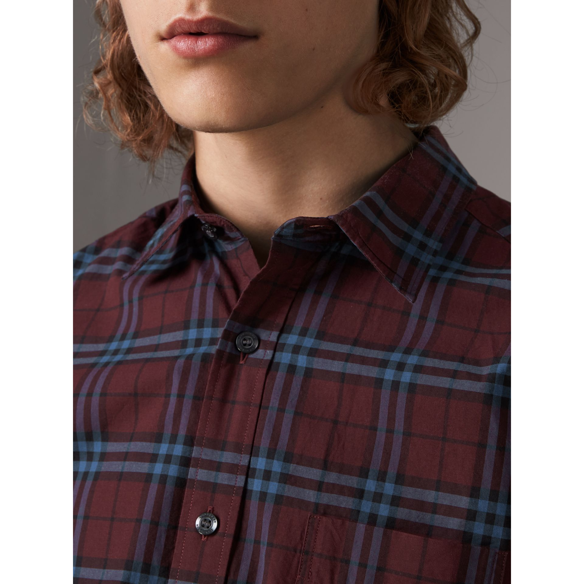 Short-sleeve Check Cotton Shirt in Crimson Red - Men | Burberry United Kingdom - gallery image 1
