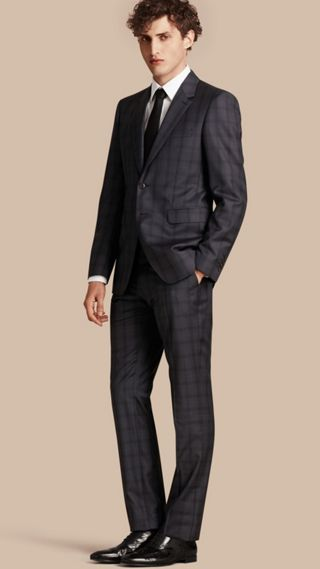 Modern Fit Check Wool Part-canvas Suit