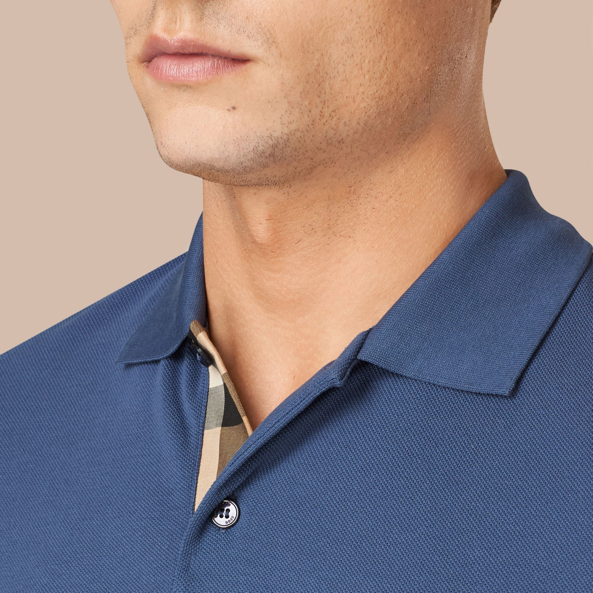 Light steel blue Check Placket Cotton Piqué Polo Shirt Light Steel Blue - gallery image 2